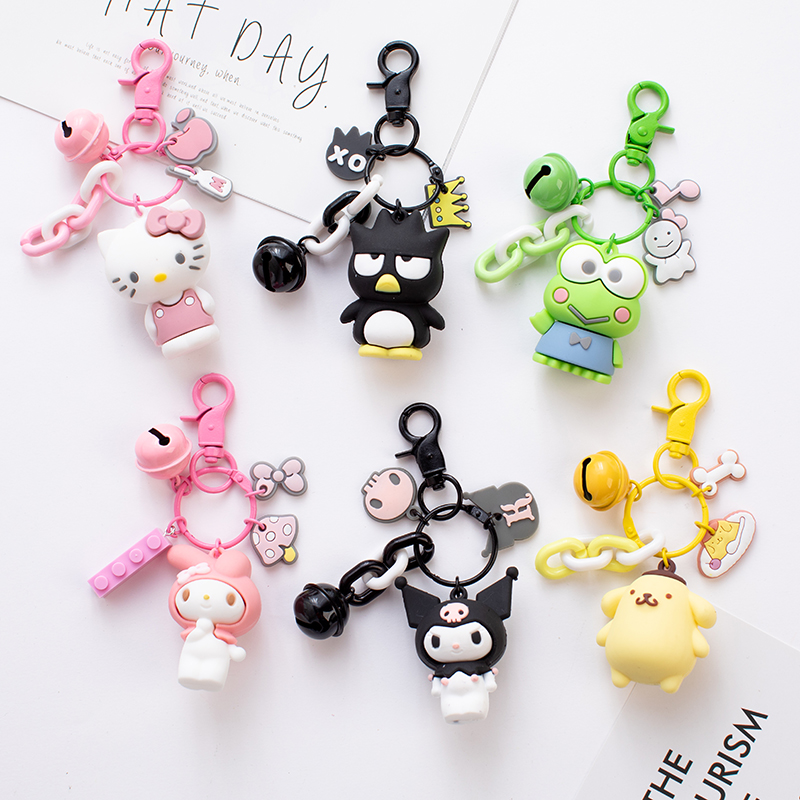 Cute Anime Kuromi Melody Hello Kitty Keychain Kawaii Cartoon Big Eared Dog Frog Pudding Dog Penguin Women Bag Pendant Key Chain(China)