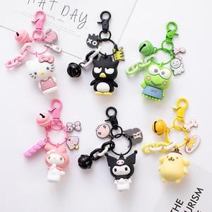 Cute Anime Kuromi Melody Hello Kitty Keychain Kawaii Cartoon Big Eared Dog Frog Pudding Dog Penguin Women Bag Pendant Key Chain