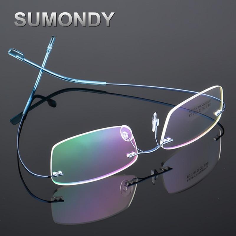 SUMONDY Rimless Titanium Alloy Glasses Frame Men Women Square Plain Glass Spectacles Toughness Prescription Eyewear Frames UF60