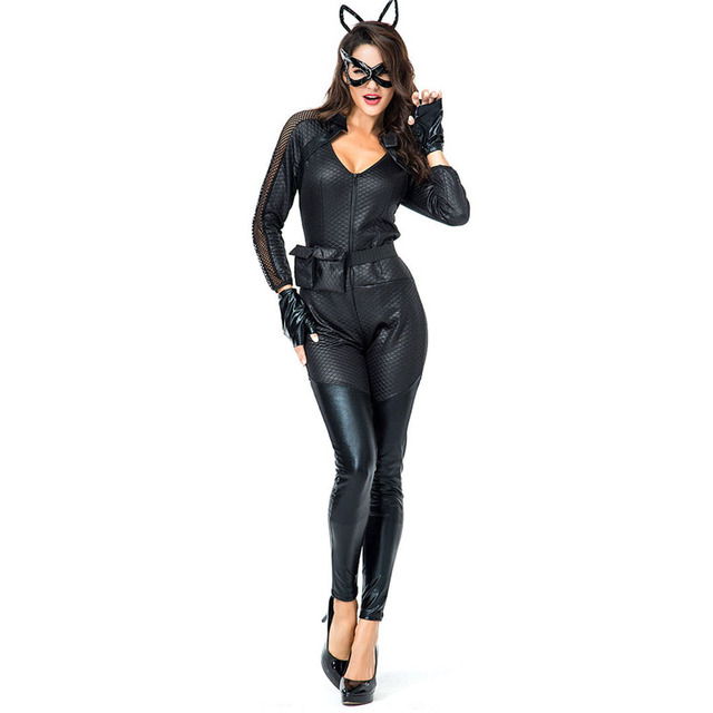 Halloween Women CatWoman Cosplay Costumes Bodysuits Adult Sexy Black Synthetic Leather Catsuit Whip Girls Carnival Party