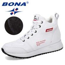 Женские кроссовки на толстой вулканизированной подошве BONA, дизайнерские уличные удобные короткие плюшевые ботинки для отдыха, новинка 2019