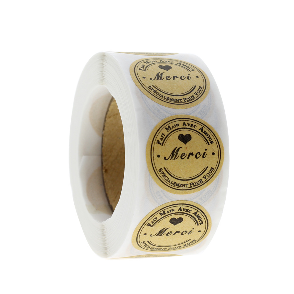 500 Pcs/roll Round Merci Thank You Stickers Seal Labels For Wedding Party Cards 1 Inch Gifts Box Package Stationery Stickers