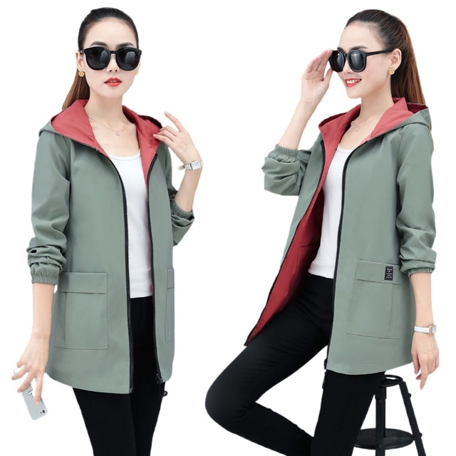 Women's windbreaker double-sided jacket mid-length 2021 spring and autumn new loose large size hooded spring jacket 1