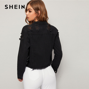Image 2 - SHEIN czarny mycia zgrywanie postrzępione krawędzi kurtka dżinsowa płaszcz kobiety wiosna jesień pojedyncze piersi typu streetwear z długim rękawem kurtki okazjonalne