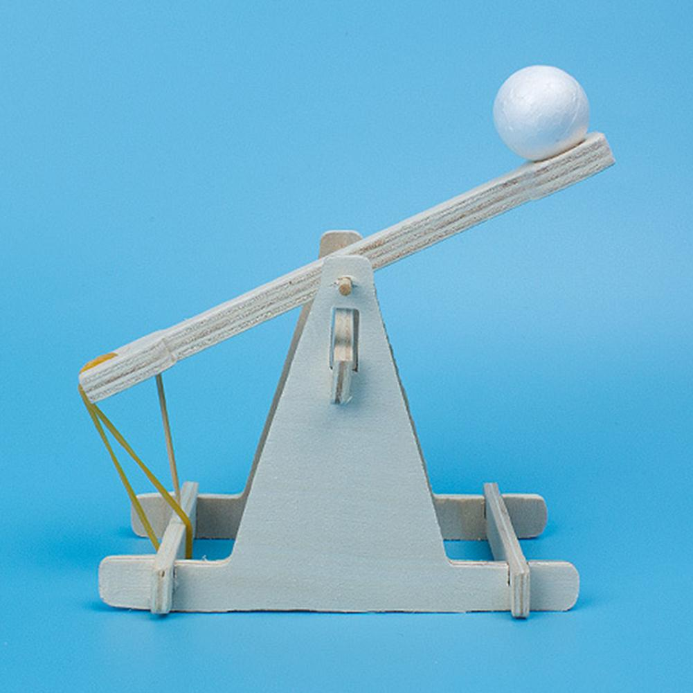 New Kids Toys Children Scientific Experiment DIY Trebuchet Toy Model Wooden Kits 1 Set Of DIY Trebuchet Toy