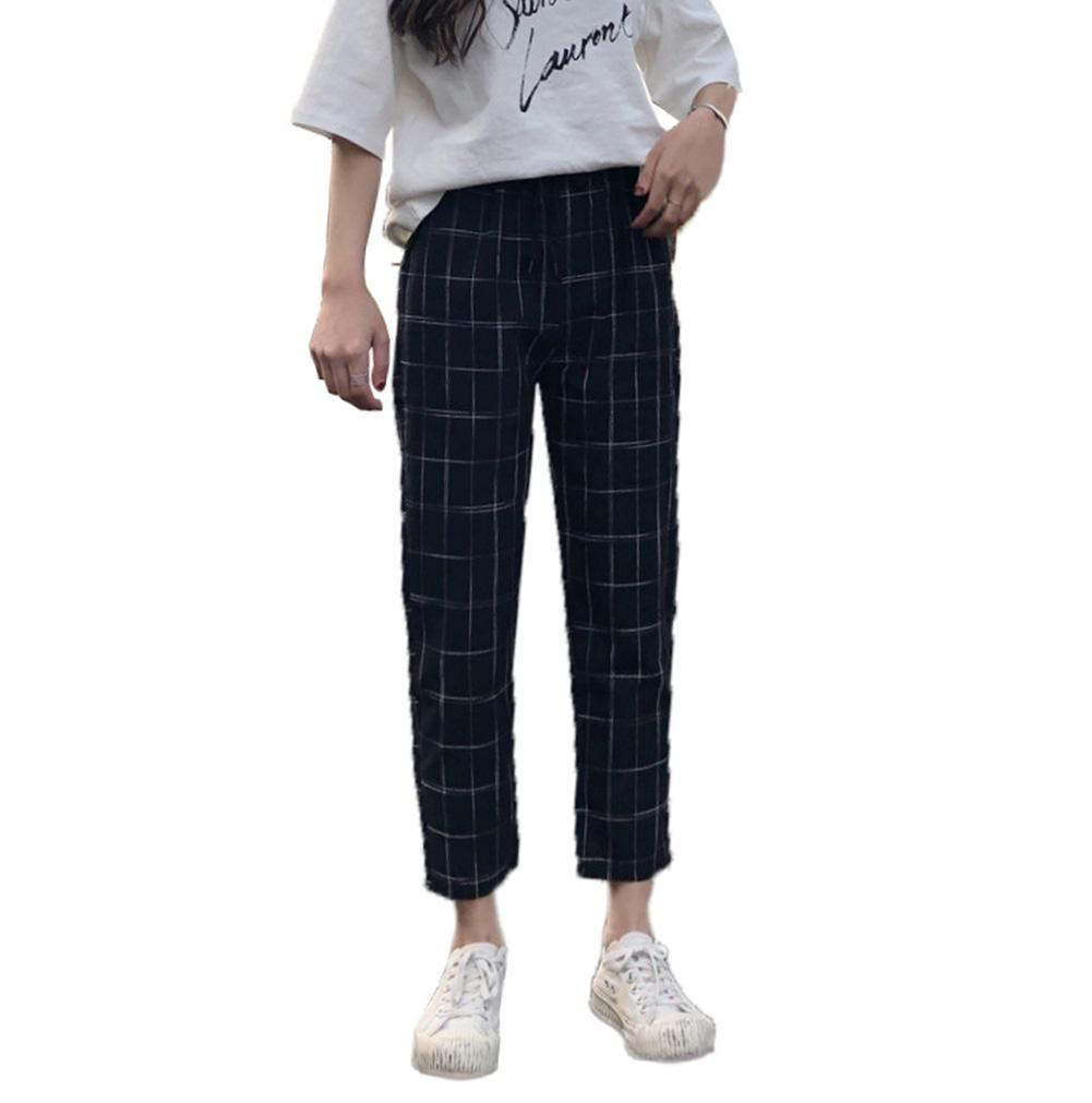 Fashion Women Plaid Loose Casual Drawstring Ninth Carrot Harem Pants Trousers Drawstring Waist Pant Women Hip Hop Trouser Man