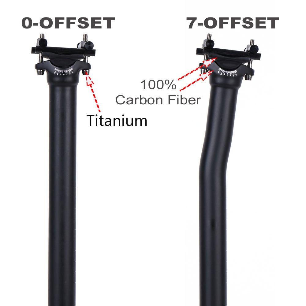 Carbon Bicycle Seatpost MTB Road Bike Seatpost offset 25° 27.2//31.6*350//400mm