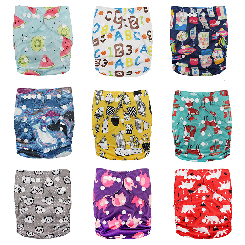1Pc Washable Reusable Waterproof Digital Printed Baby Cloth Diaper One Size Pocket Baby Nappies Wholesale Price Fit For 3-15kg