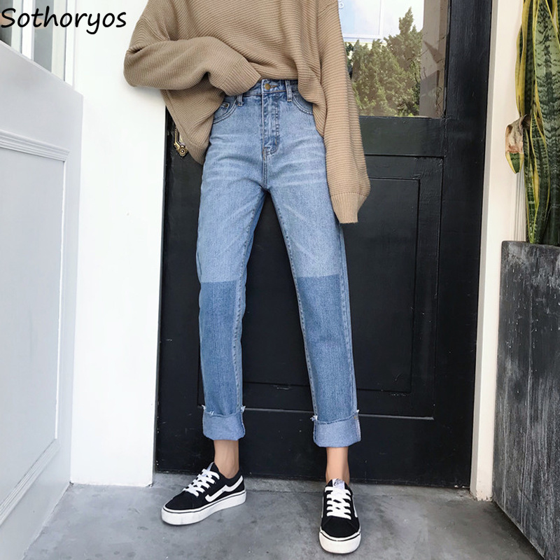 Jeans Women Ankle-Length All-match Trendy Female Korean Style Mixed Color High Quality Womens Loose Simple Lovely Leisure Chic