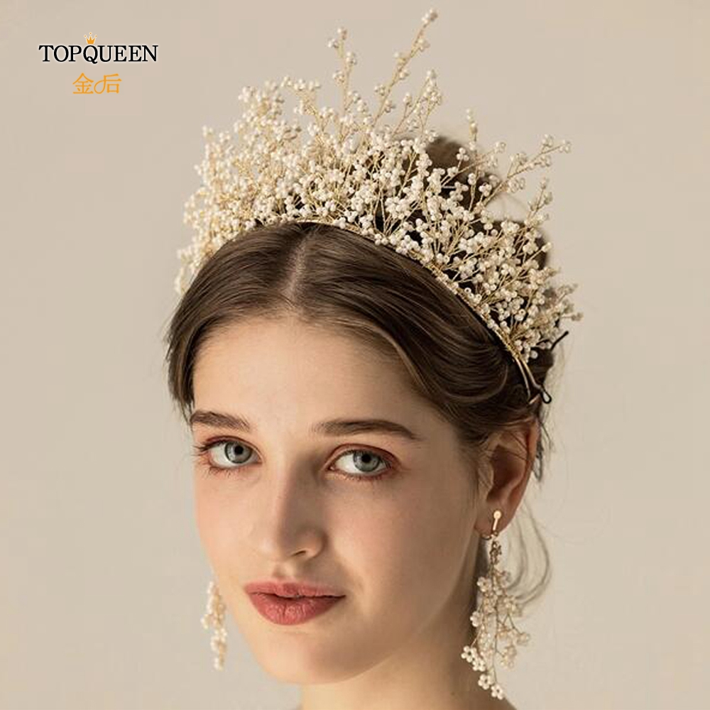 YouLaPan HP193-W White Beads Wedding Hair Crown Handmade Bridal Hair Accessories For Women Elegant Bridal Headband Best Selling