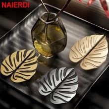 NAIERDI Luxury Black Gold Leaves Creative Cabinet Handles Drawer knobs Leaf Handle Wardrobe Door handles Furniture Handles