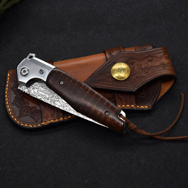 NEW Damascus VG10 steel folding knife High quality knife High hardness outdoor camp Into the Wild hunting knife rescue tool EDC 6