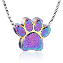 Pet Paw Urn Necklace for Ashes Memorial Ash Keepsake Locket Cremation Jewelry Bling Bling Pet Pendant Necklace Urn for Dog Cat stainless steel cremation jewelry angel wings pendant memorial urn necklace