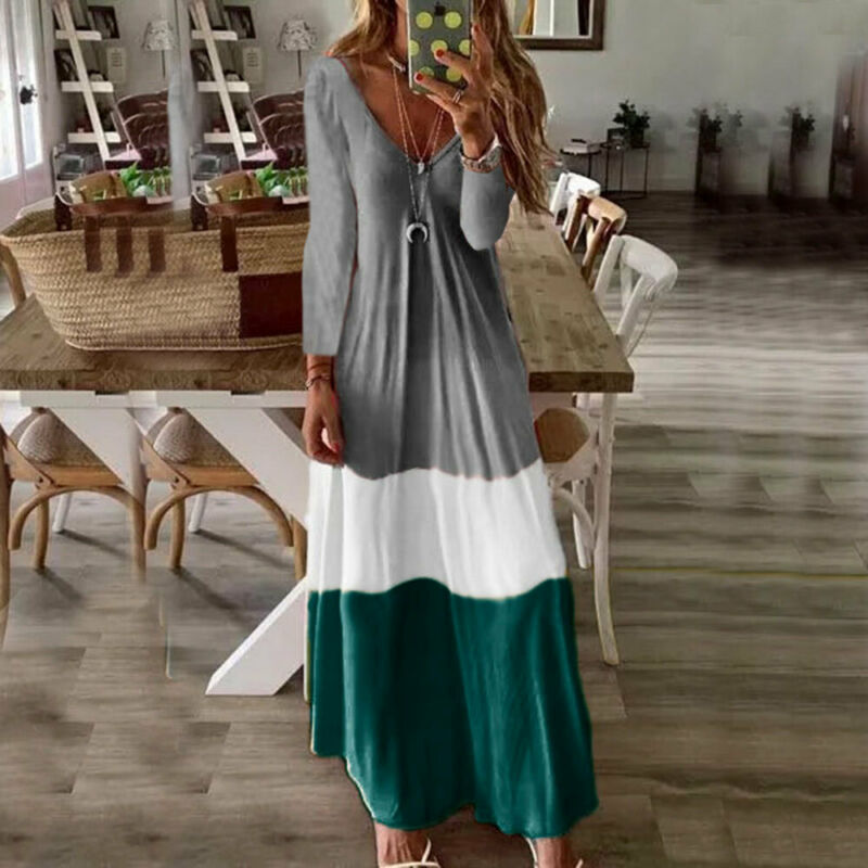 New Womens Long Sleeve Boho Party Casual Kaftan Maxi Dress Long Dresses