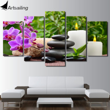 HD Printed 5 Piece Canvas Art Pink orchid Spa Zen Painting Framed Wall Picture for Living Room home decor on canvas wall ny-1680