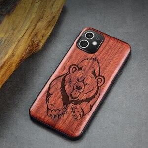 Image 4 - Carveit جراب هاتف من خشب الورد الأصلي ، جراب فاخر مع غطاء خشبي منحوت لهاتف iPhone 12 Pro Max ، 100%