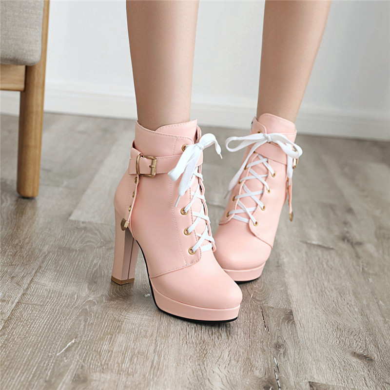 Chic Womens Shoes Block High Heel Lace Up Belt Buckle Platform Strap Ankle Boots