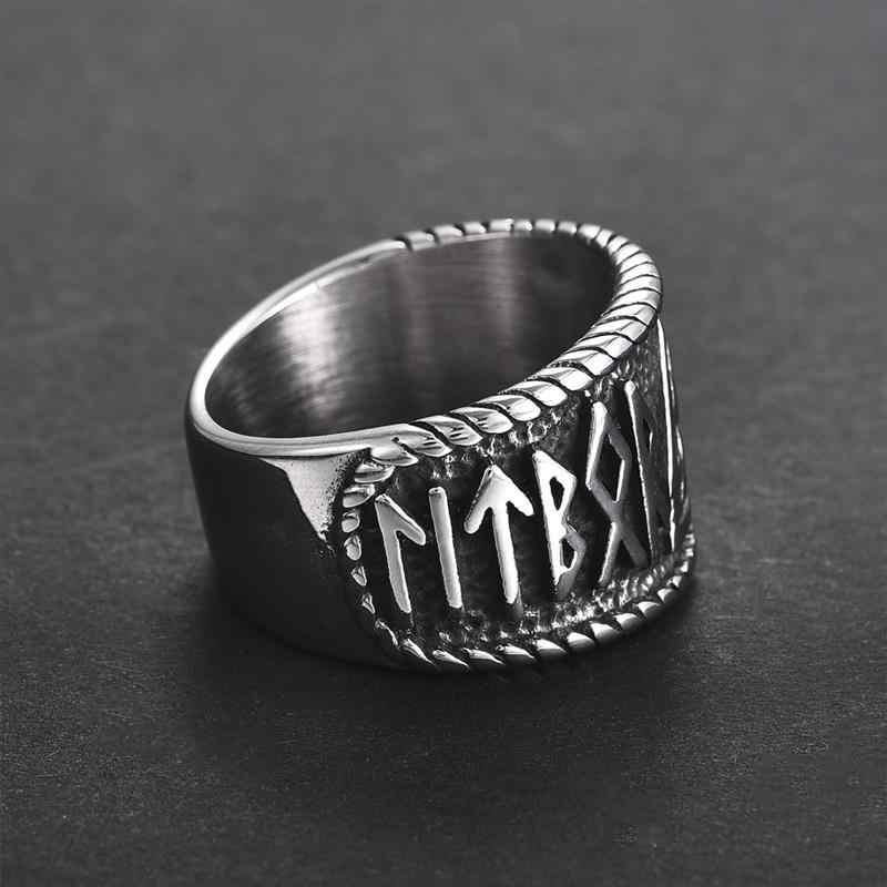 Jiayiqi Titanium Steel Nordic Viking Runes Ring Odin 'S Symbol Ring For Men Women Vintage Gothic Punk Amulet Male Jewelry Gifts