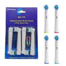 4 pçs escova de dentes elétrica substituição cabeças rosto limpo para oral b clarear corss sensível escova cabeças cerdas macias