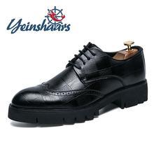 Мужские повседневные кожаные туфли толстая подошва Формальные