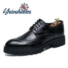 Nova chegada dos homens sapatos de couro casuais sola grossa sapatos formais moda brogue sapatos elegantes lazer caminhada oxford sapatos masculinos adulto