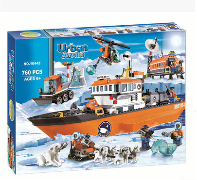 iPiggy 10443 760pcs City Polar Adventure Arctic Ice Breaker Ship Model Building Blocks Toys For Children Gifts image