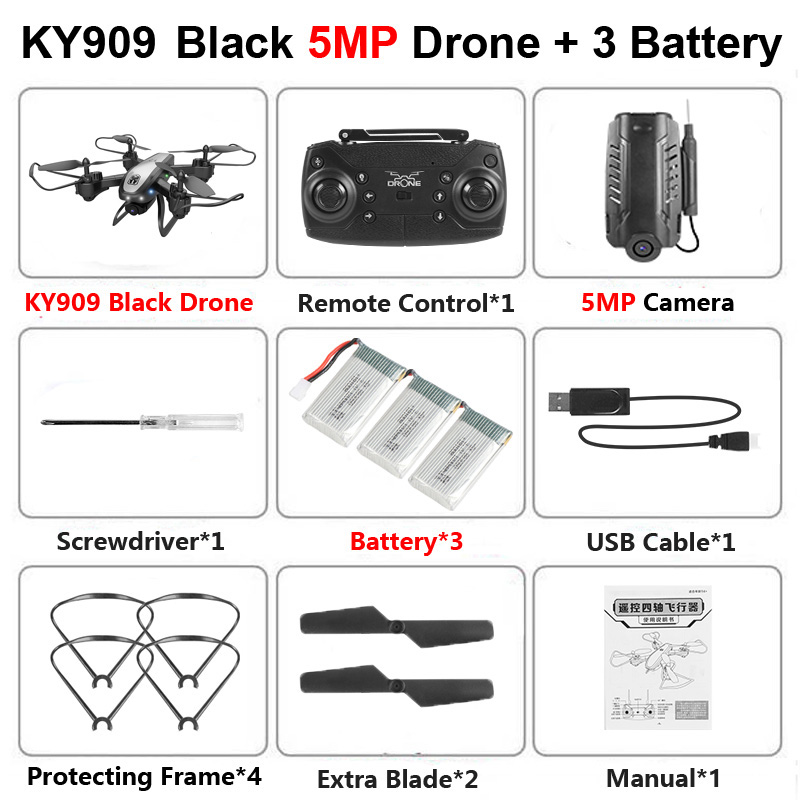 KY909 Foldable Professional Drone with Camera 4K HD WiFi FPV Video Live Wide Angle Optical Flow RC Quadcopter Helicopter Toy E58