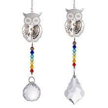 3D Owl Suncatcher Aurora Borealis Window Hang Chandelier Prisms Rainbow Beads Chakra Suncatcher For Christmas Tree Pendant