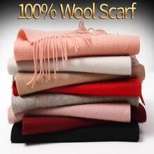 цена 100% Pure Wool Scarf Winter Women 2019 Brand Echarpe Wraps for Ladies Solid Foulard Femme with Tassel Warm Merino Wool Scarves онлайн в 2017 году