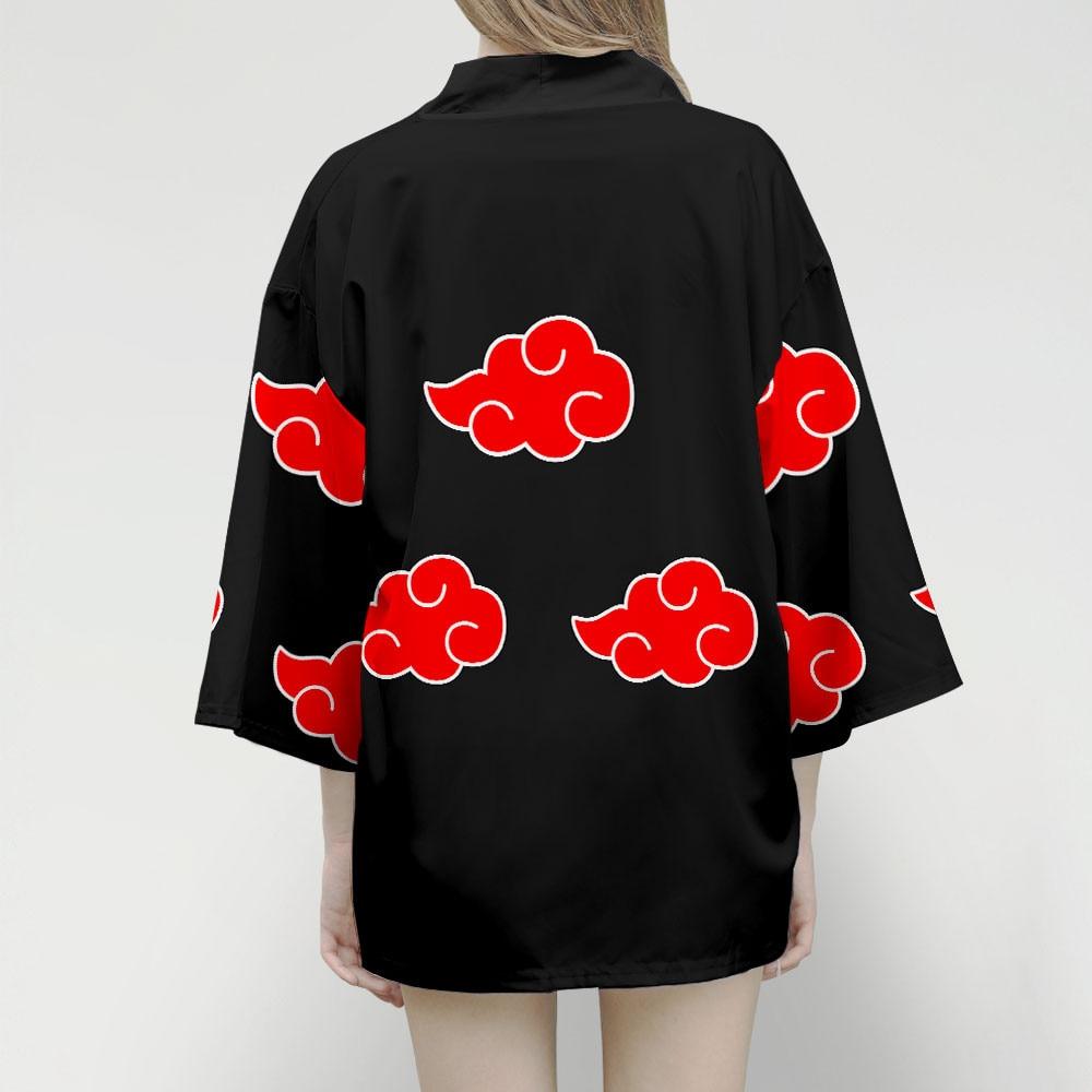 Uzumaki Akatsuki Red Cloud Kimono Women Japanese Kimono Shirt Samurai Costume Female Yukata Haori Womens Kimono Jacket