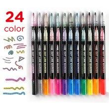 Outline rotuladores metalizados, bolígrafos de pintura Magic Shimmer de doble línea juego de 12 para niños adultos dibujo arte Signature Coloring Journal