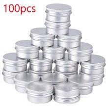 100 Uds x 5g 10g 15g aluminio redondo lata de protector labial contenedores con rosca tapa ideal para especias, caramelos, té o regalo dando