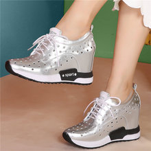 Summer Trainers Women Lace Up Cow Leather Round Toe Platform Wedges Pumps Shoes Female High Heel Fashion Sneakers Casual Shoes