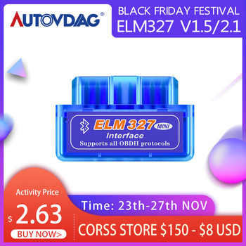Mini OBD2 Scanner Elm327 v1.5 or v2.1 OBD Code Reader Elm 327 Bluetooth Car Accessories WIFI Work on Android / IOS BT on Android image