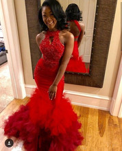 Red Mermaid Prom Dresses 2020 New Formal Evening Dresses Lace Applique Beaded Sleeveless Sexy Back Sweep Train Party Gowns red mermaid prom dresses 2020 sweetheart zipper back sweep train wedding formal party gowns evening dress vestidos de festa