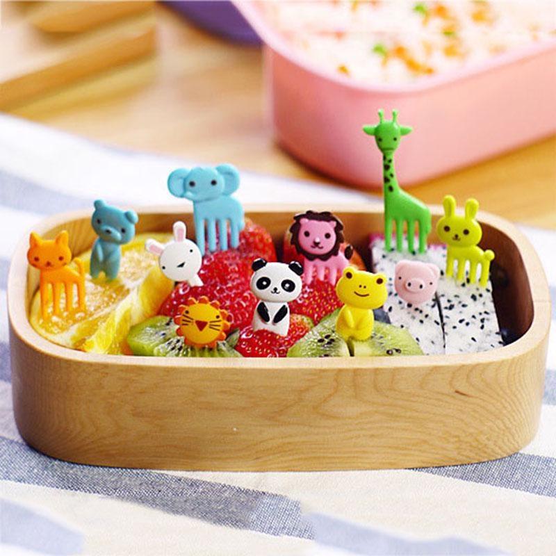 Food Picks 10pcs/set New Animal Farm Mini Cartoon Fruit Fork Fork Bento Box Dessert Spoon And Fork Set Children Kids Tableware