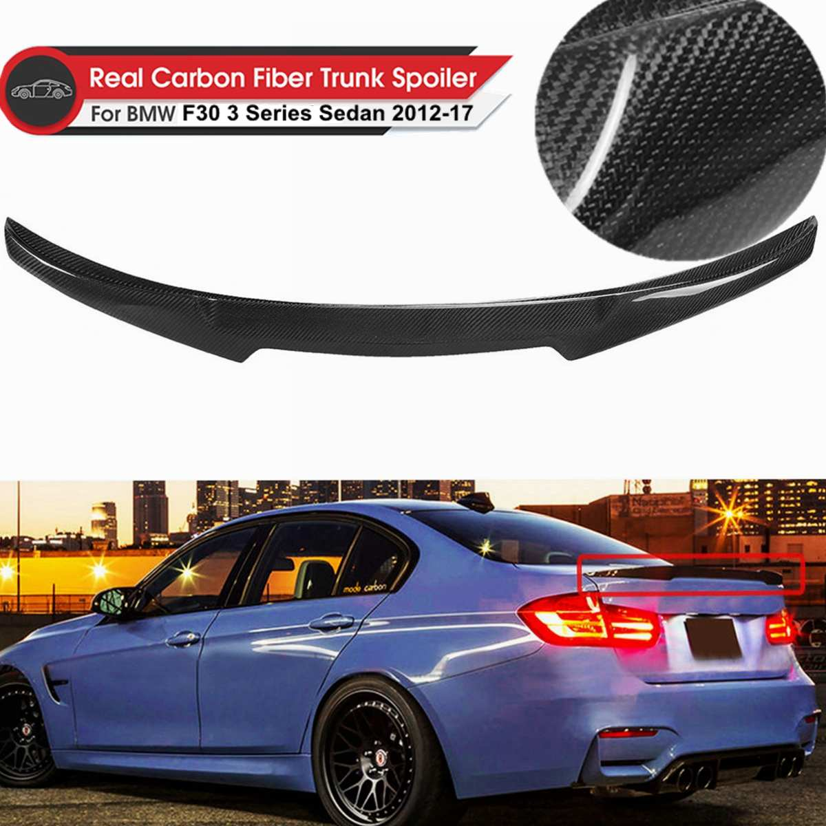 Real Carbon Fiber PSM Style Rear Trunk Boot Spoiler For BMW F30 /& F80 M3 Sedan
