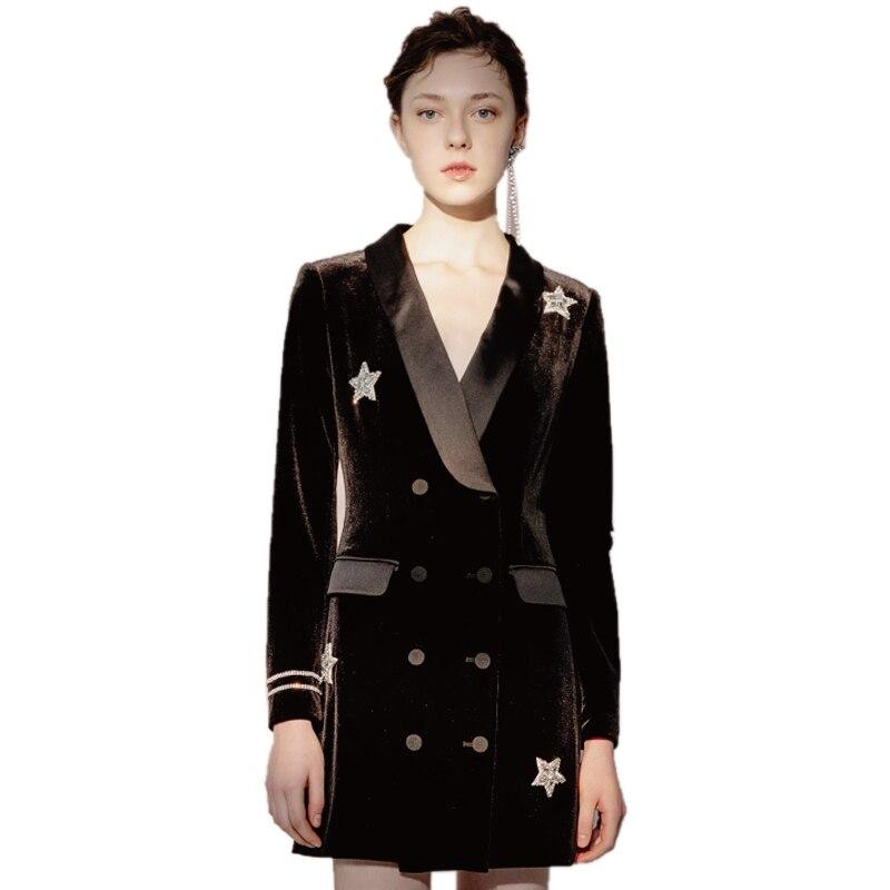 Nouveau velours noir Satin diamant étoiles costume robe femmes 2019 automne dames élégant Double boutonnage à manches longues robes de bureau