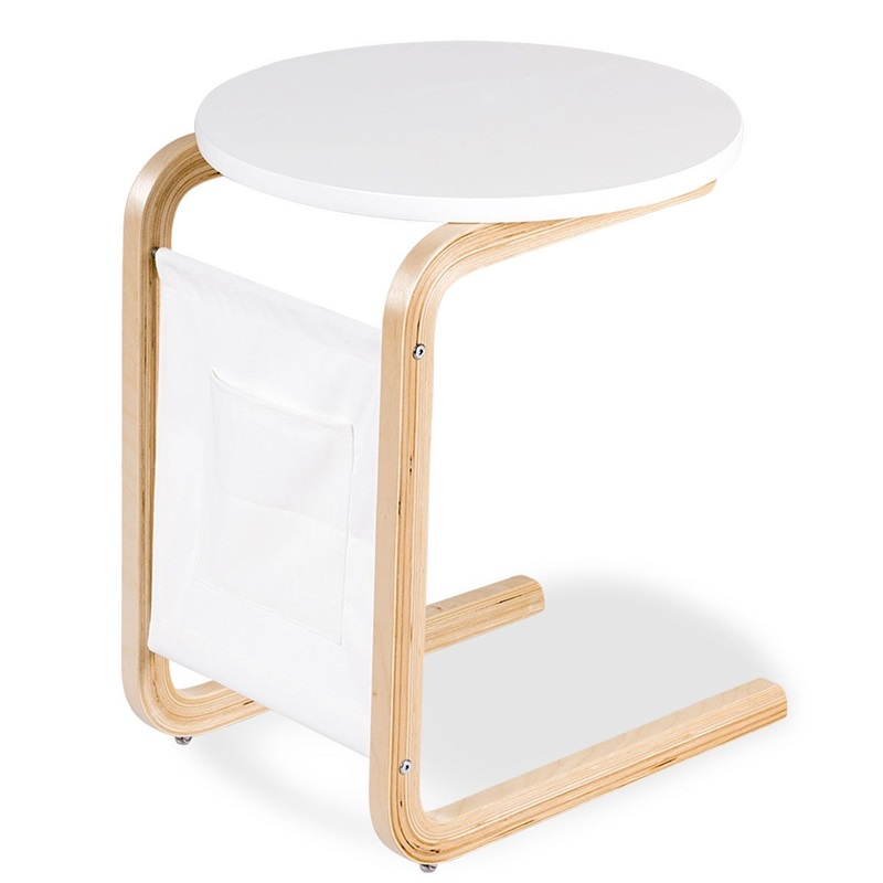 Bentwood Accent Coffee Table Round Tabletop With Storage Bag White Anti-slip Cofe Tables US Shipping HW60310