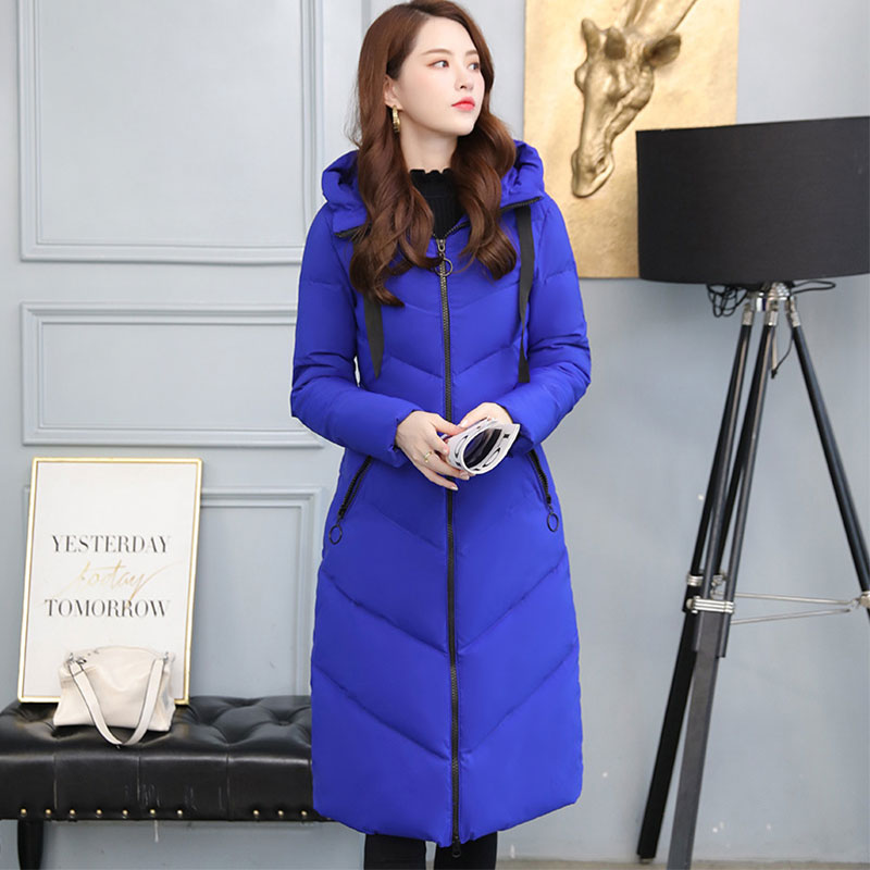 Women X-long Hooded Bakery Oversize Winter Down Coat Student Thick Warm Jacket Cotton Padded Wadded Parkas Big Pocket