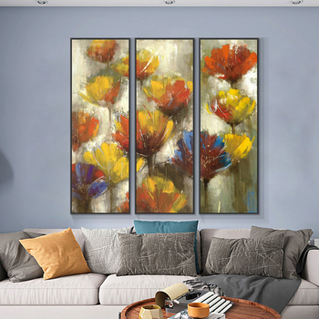Abstract Red With Yellow Flowers Painting 100% Hand Painted Oil Painting On Canvas Modern Wall Art For Living Room Decoration 2020 christmas gift modern paintings abstract gold oil painting 100% hand painted on canvas for living room decoration wall art