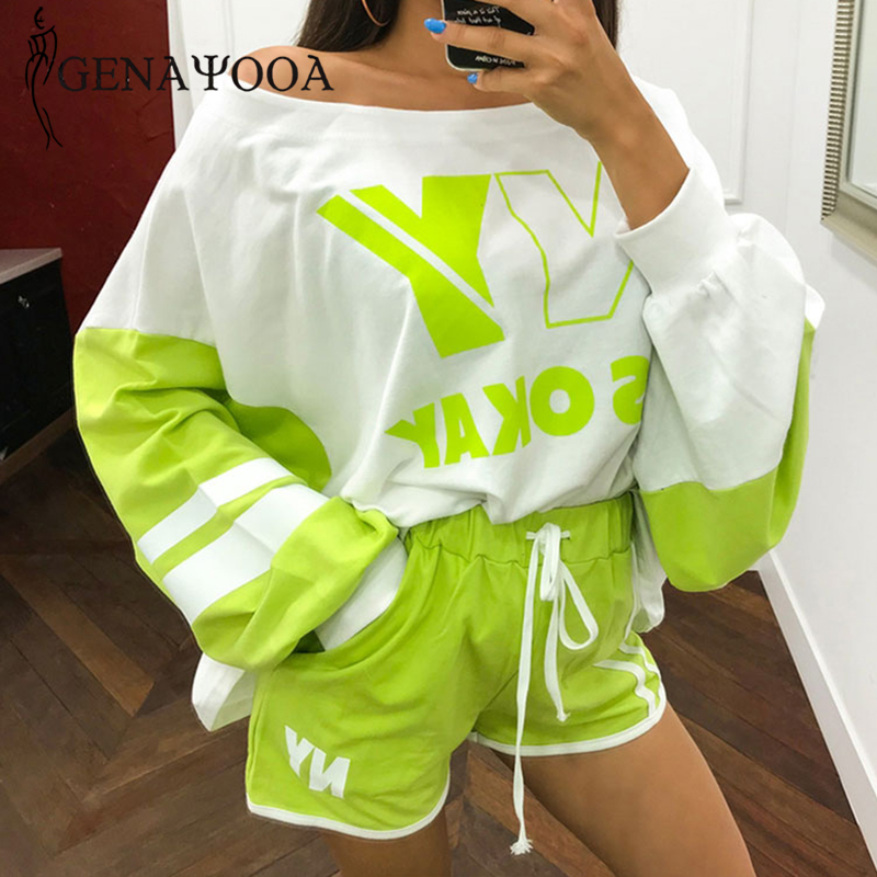 Genayoos 2020 2 Piece Set Women Causal Loose Tracksuits Wiomen Cotton Two Piece Set Top And Shorts Streetwear Female Suits Hot