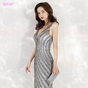 Image 5 - 2020 חדש הגעה אלגנטי V צוואר אפור ארוך ערב שמלות בת ים נצנצים חרוזים שמלת מסיבת ערב שמלות