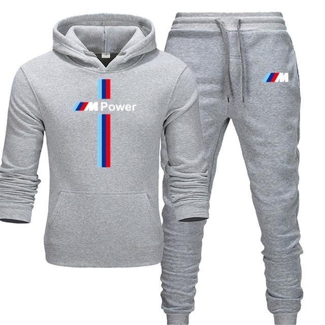 New BMW M Power Hoodie Set Sportswear Sweatshirt Set Fleece Hoodie + Sweatpants Jogging Men's Pullover 3XL Sports Set 2