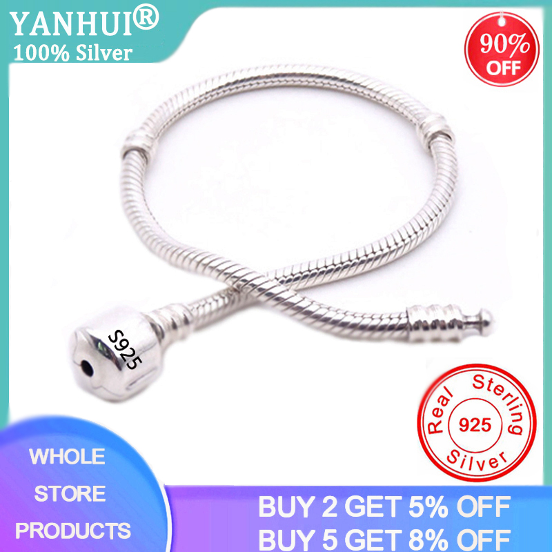 BIG SALE Charming Original 925 Sterling Silver Snake Chain Bangle & Bracelet With Silver Certificate 16-23CM Bracelet For Women