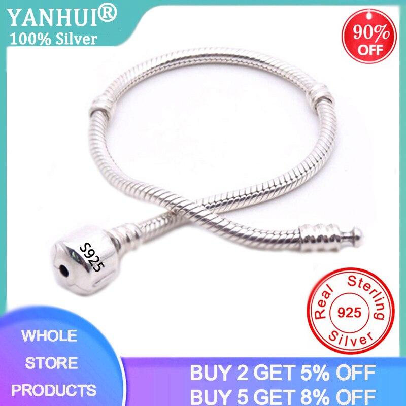 BIG SALE Charming Original 925 Sterling Silver Snake Chain Bangle & Bracelet With Silver Certificate 16-23CM Bracelet For Women