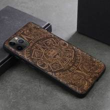 Walnut Wood Cover Case for IPhone 11 Pro Carved TPU Bumper Wooden Case for IPhone 11 Pro Max Cover Protective natural wooden phone case for huawei mate rs maters case cover walnut rosewood black ice wood shell real wood