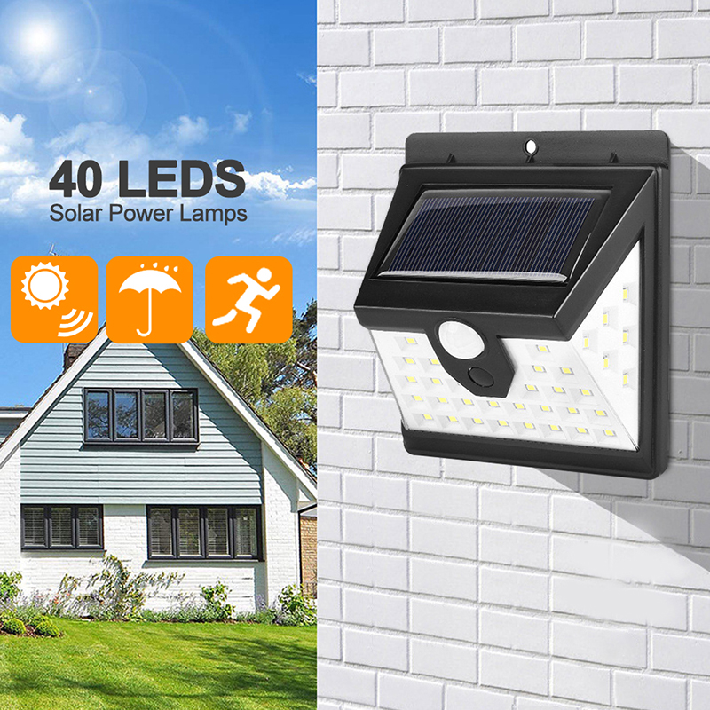 <font><b>40</b></font> LED Solar Light Outdoor Garden Solar Lamp PIR Motion Sensor Waterproof Energy Saving For Wall Yard Street Security Lamps image
