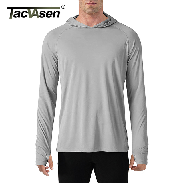 TACVASEN Sun Protection T Shirts Men Long Sleeve Casual UV Proof Hooded T Shirts Breathable Lightweight Performance Hike tshirts