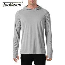 TACVASEN koszulki chroniące przed słońcem męskie koszulki z długim rękawem Casual odporne na promieniowanie UV koszulki z kapturem oddychające lekkie koszulki z krótkim rękawem